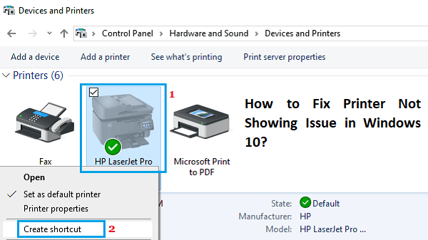 printer not showing up